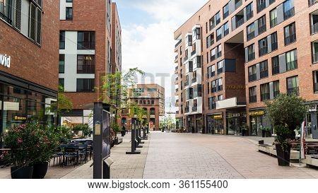 Hamburg, Germany - June 23, 2019 Shopping Promenade In Port District Hafencity
