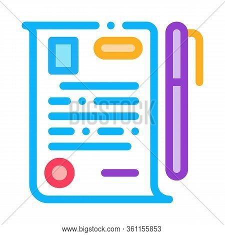 Signature Paper Icon Vector. Signature Paper Sign. Color Symbol Illustration