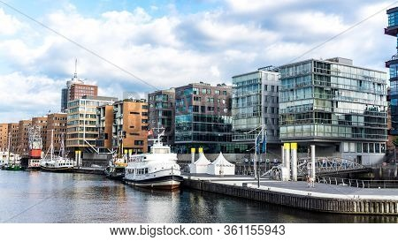 Hamburg, Germany - June 23, 2019 Historical Ships In Port Sandtorhafen Of Hamburg Port District Hafe