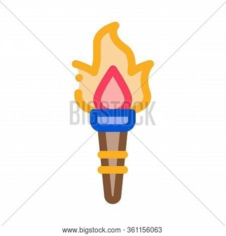 Greek Fire Torch Icon Vector. Greek Fire Torch Sign. Color Symbol Illustration