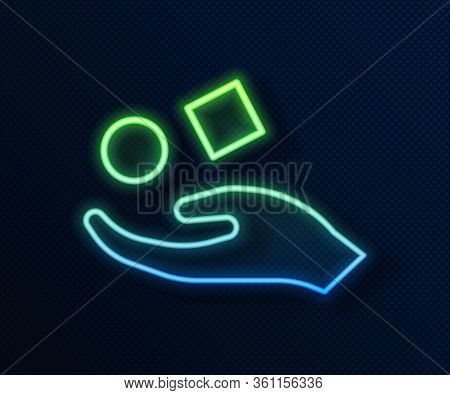 Glowing Neon Line Cube Levitating Above Hand Icon Isolated On Blue Background. Levitation Symbol. Ve