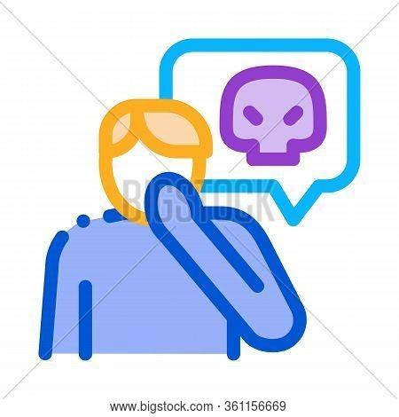 Bully Man Icon Vector. Bully Man Sign. Color Symbol Illustration