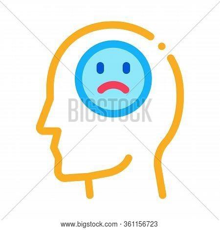 Pessimistic Person Icon Vector. Pessimistic Person Sign. Color Symbol Illustration