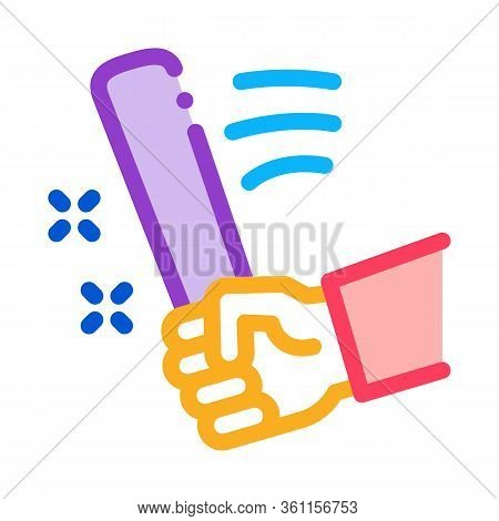 Man Hand With Bat Icon Vector. Man Hand With Bat Sign. Color Symbol Illustration