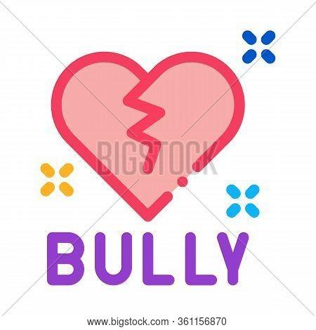 Bully Broken Heart Icon Vector. Bully Broken Heart Sign. Color Symbol Illustration