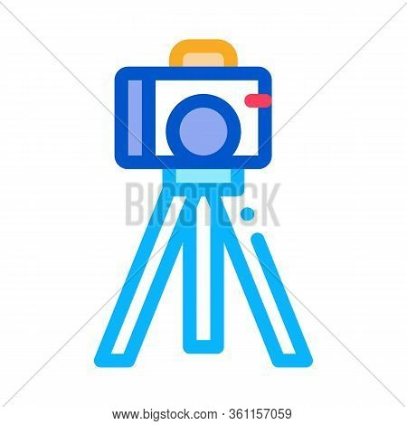 Video Camera With Tripod Icon Vector. Video Camera With Tripod Sign. Color Symbol Illustration
