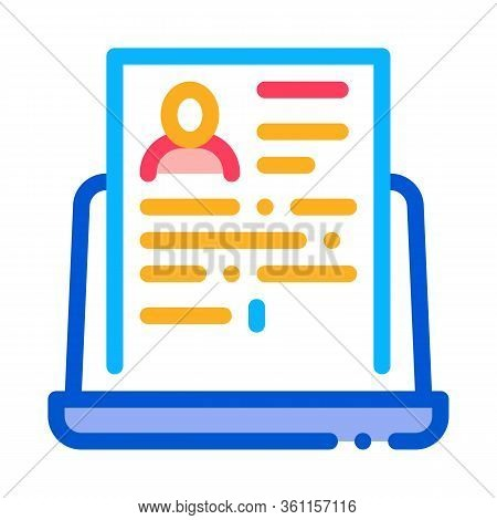 Complete Computer Information About Person Icon Vector. Complete Computer Information About Person S