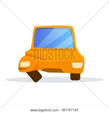 Car Side Accident Icon. Cartoon Of Car Side Accident Vector Icon For Web Design Isolated On White Ba
