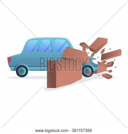 Car Wall Accident Icon. Cartoon Of Car Wall Accident Vector Icon For Web Design Isolated On White Ba