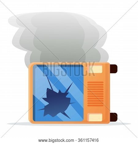 School Bus Accident Icon. Cartoon Of School Bus Accident Vector Icon For Web Design Isolated On Whit