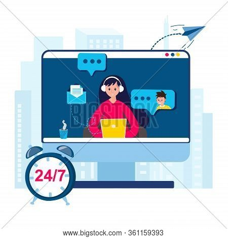 Telemarketing Agent. Customer Support Operator Helps Client Online 24. Hot Line With Man Vector Illu