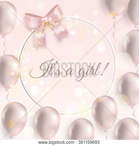 It Is A Girl Beautiful Postcard, Baby Shower Event With Pink Glossy Balloons And Ribbon. Elegant Mod
