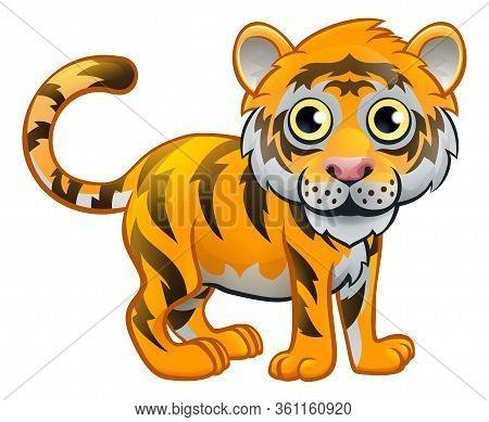 A Cute Tiger Safari Animal Cartoon Character