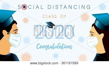 Social Distancing Concept With Students 2020 Graduates In Medical Mask. Class Off Graduation Vector