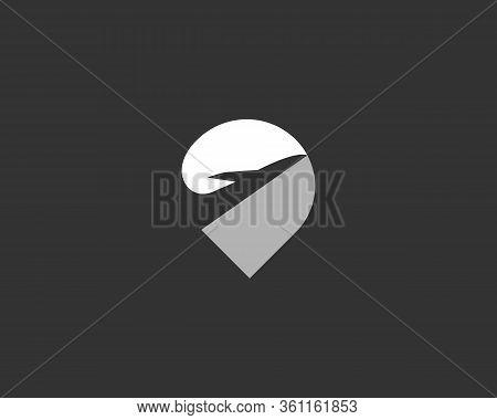 Location Finder Pin Point Logo Design. Airplane Creative Logotype Vector Icon Symbol. Navigation Map