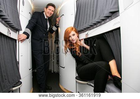 Johannesburg, South Africa - February 06, 2014: Flight Attendants In The Crew Sleeping Quarters On B