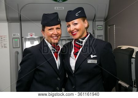 Johannesburg, South Africa - February 06, 2014: Two Female Cabin Crew From The Ambassador Team, On B