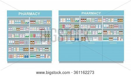 Pharmacy Shelves With Medicines. Two Large Racks Isolated On White Background. Concept Of Pharmaceut