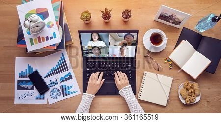 Work From Home. People Make Video Conference With Multi Colleague Via Laptop Computer During Self Is