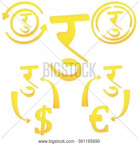 Nepalese Rupee Currency Symbol Of Nepal. 3d Icon Vector Illustration On A White Background
