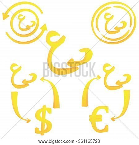 Omani Rial 3d Symbol Icon Of Oman Vector Illustration On A White Background
