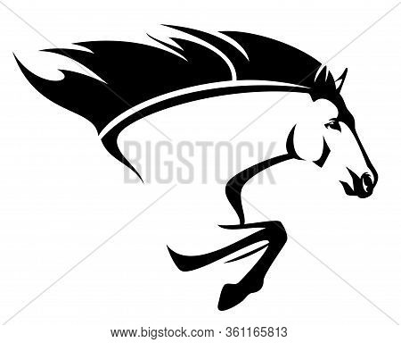 Beautiful Mustang Horse With Flying Mane - Speeding Forward Stallion Side View Black And White Vecto