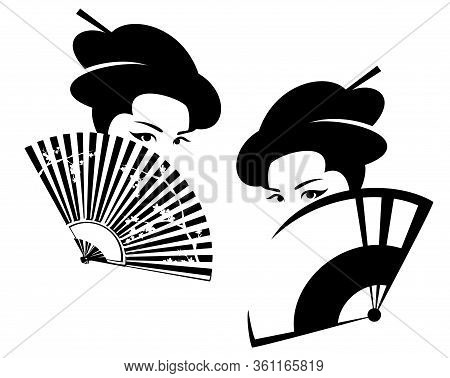 Beautiful Japanese Geisha Hiding Face Behind Fan  - Black And White Vector Portrait Of Asian Beauty