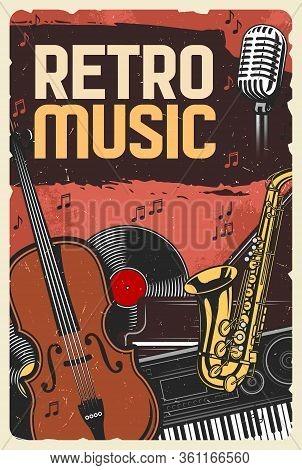 Retro Music Festival, Jazz Night Or Folk Festival, Vector Vintage Poster. Retro Music Band Instrumen
