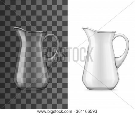 Glass Jug Or Pitcher, Vector 3d Realistic Tableware Mockup. Water, Juice Or Milk Pitcher With Handle