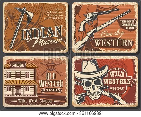 Western Cowboy And Wild West Saloon, Skull And Sheriff Hat, Shotgun And Tomahawk, Bow, Texas Longhor