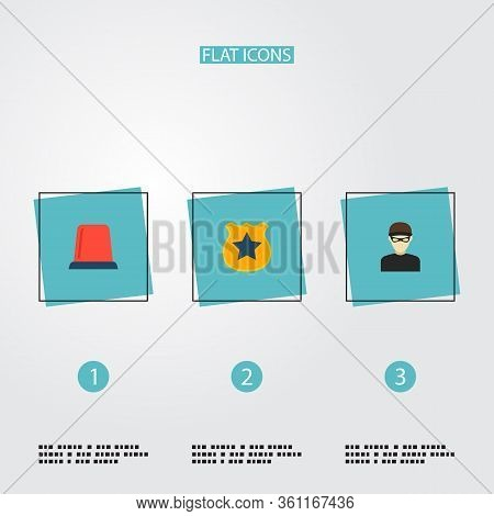 Set Of Criminal Icons Flat Style Symbols With Flasher Siren, Criminal, Police Badge And Other Icons