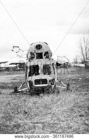 Old Destroyed Soviet Abandoned Military Airplanes In The Field In Ukraine, Black And White