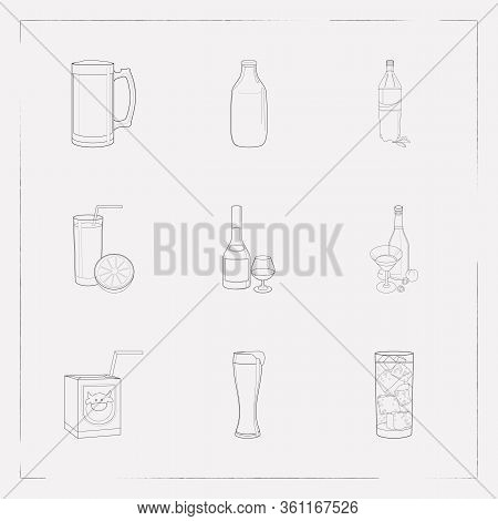 Set Of Alcohol Icons Line Style Symbols With Small Milk Box, Brandy, Beer Mug Icons For Your Web Mob
