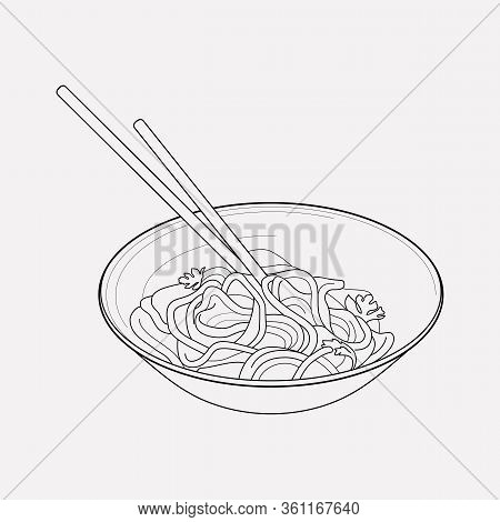 Chinese Noodles Icon Line Element. Vector Illustration Of Chinese Noodles Icon Line Isolated On Clea