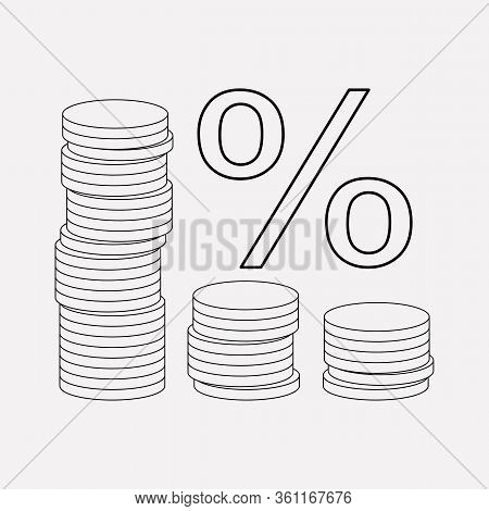 Financial Interest Icon Line Element. Illustration Of Financial Interest Icon Line Isolated On Clean