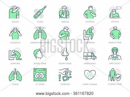 Coronavirus, Flu Virus Symptoms Line Icons. Vector Illustration Included Icon As Cough, Fever, Lung