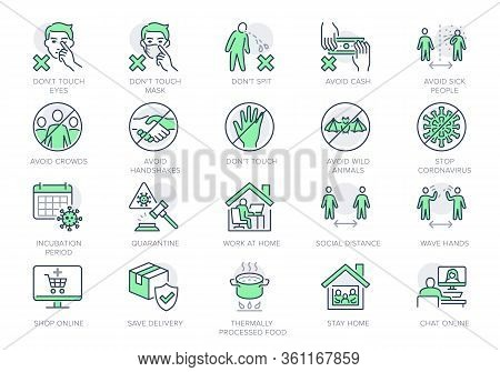 Coronavirus Prevention Line Icons. Vector Illustration Include Icon - Social Distance, Quarantine Vi