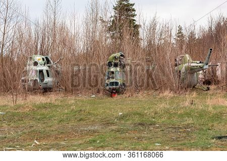 Old Destroyed Soviet Abandoned Military Airplanes In The Field In Ukraine
