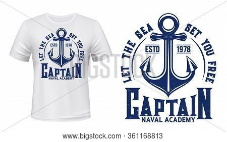 Nautical Anchor T-shirt Print, Vector Navy Blue Template Mockup. Sea And Ocean Naval Academy Sign Wi