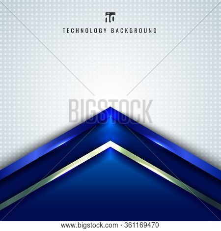 Abstract Technology Concept Blue Metallic Angle Arrow Overlapping On White Background With Space For