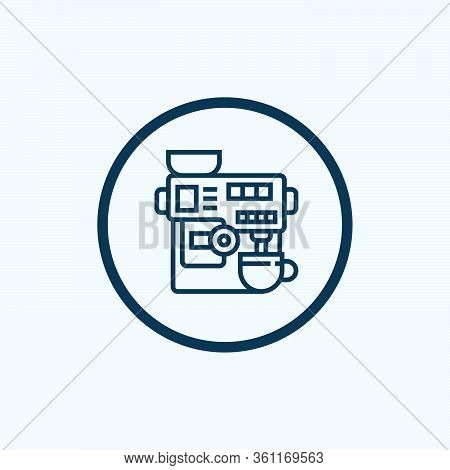 Commercial Coffee Machine Icon. Outline Commercial Coffee Machine Vector Icon For Web Design Isolate