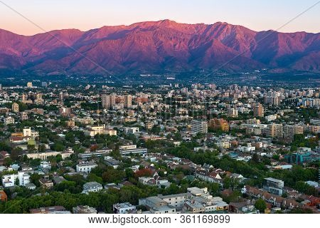 Panoramic View Of Providencia District With Los Andes Mountain Range, Santiago De Chile