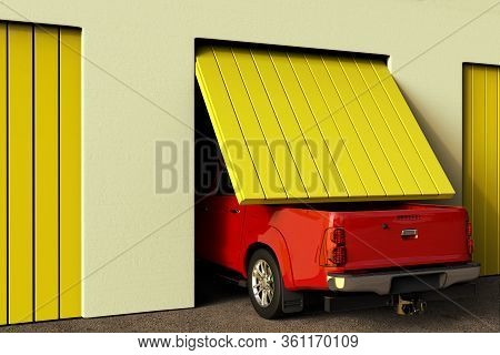 3d Rendering Of A Conceptual Image Of A Big Pickup Truck That Does Not Fit In The Garage.
