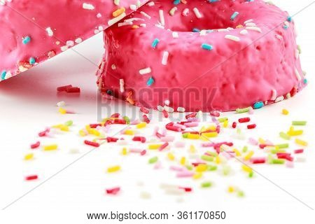 Strawberry Donuts With Chocolate Shavings Color On White Background.horizontal Image.