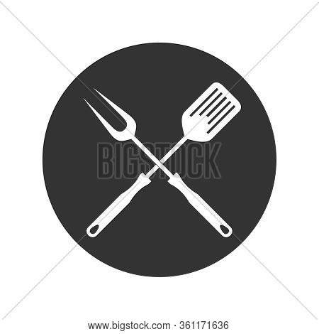 Bbq Or Grill Tools Graphic  Icon. Crossed Barbecue Fork With Spatula Sign In The Circle Isolated On
