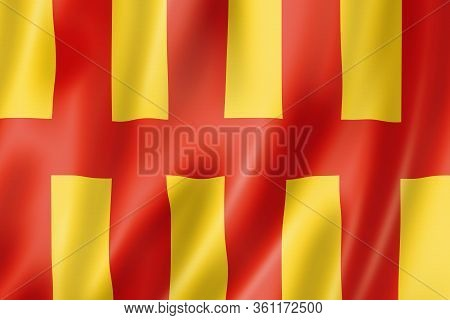 Northumberland County Flag, United Kingdom Waving Banner Collection. 3d Illustration