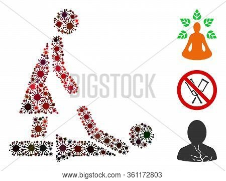 Mosaic Thai Massage United From Sars Virus Icons In Random Sizes, Red Colors. Vector Infection Icons