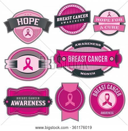 A Set Of Breast Cancer Awareness Badges, Labels, Ribbons, And Emblems Illustration. Vector Eps 10 Av
