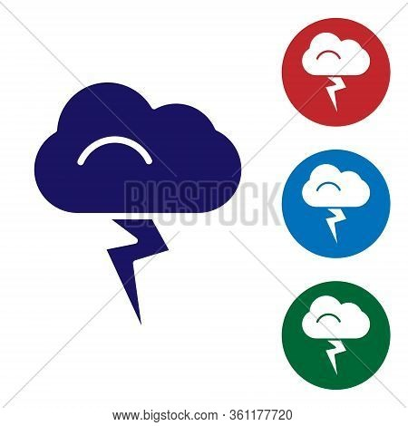 Blue Storm Icon Isolated On White Background. Cloud And Lightning Sign. Weather Icon Of Storm. Set I