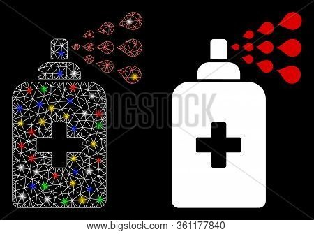 Glowing Mesh Sanitizer Spray With Glitter Effect. Abstract Illuminated Model Of Sanitizer Spray Icon